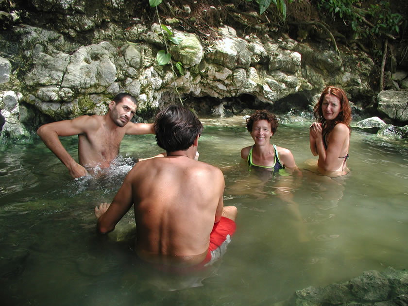 Swimming in the warm water of the Río Dulce, Guatemela.